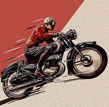 "vintage motor cycle bike cafe racer antique old art painting print  24""x24"""