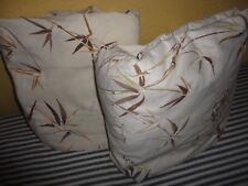 VINTAGE BAMBOO FLORAL BUTTERFLIES BROWN CREAM FIFTH AVENUE  (2PC) KING SHEET SET