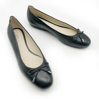 Geox Respira Lola Black Smooth Leather Bow Ballet Flats Women's 7 / 37
