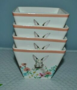 Ciroa EASTER PARADE Set 4 Square Appetizer Fruits Bowls RABBIT in Flowers