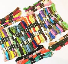 50 Anchor Solid Stitch Skeins Cotton Embroidery Thread Assorted Colours