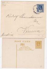 # 1907? CEYLON POSTAL STATIONERY ENVELOPE > AUSTRIA & UNUSED REPLY CARD COMPLETE