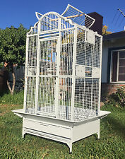 NEW Elegant Wrought Iron Open Play Dome Top Bird Parrot Cage Metal Seed Guard 15