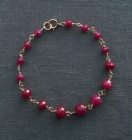 "14K GF RUBY BRACELET 5.75"" UNIQUE SMALL WRIST"