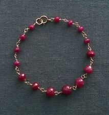 "14K GOLD FILLED RUBY BRACELET 5.75"" UNIQUE SMALL WRIST"