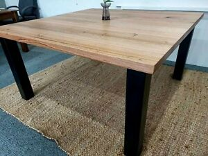 Tasmanian oak square 8 seat dining table on steel legs / hand made in Australia