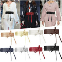 Women Stretch Buckle Waist Belt Bowknots Wide Leather Elastic Corset Waistband