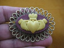 CM38-42) traditional CLADDAGH heart hands ivory burgundy CAMEO brass Pin Pendant