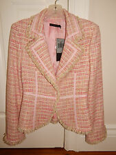 GUESS COLLECTION Tweed Ribbon Blazer - Pink -Small