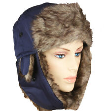 PLOT BLUE MEN WOMEN Trapper Aviator Fur Hat Ski Winter Warm Cap Flap CHRISTMAS