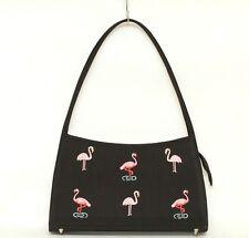 Black Satiny Pink Flamingo Shoulder Bag Purse