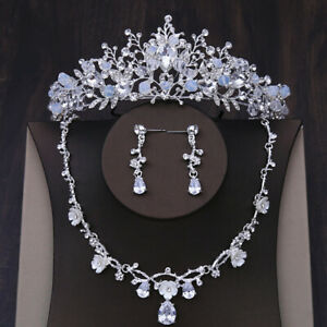 5cm High Tiara With CZ Crystal Necklace Earrings Set Wedding Party Pageant Prom