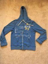Abercrombie & Fitch Vintage Blue Football Zip Up Hoodie Hooded Sweatshirt MEDIUM