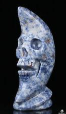 "Huge 2.9"" Blue Speckled Sodalite Carved Crystal Moon Skull, Realistic, Healing"
