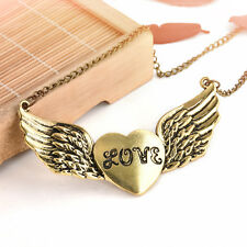 Vintage Women Antique Bronze Bib Love Heart Wing Pendant Sweater Necklace