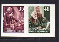 East Germany 2 Imperf Stamps Ex Miniature Sheet c1953 Mounted Mint Hinged (8615)