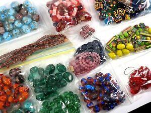 Vintage Loose Beads Lot Glass Czech Venetian Murano Mixed LBS Jewelry Making