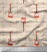 Soimoi Blanco popelina de algodon Tela notas y la guitarra instrumento-qNK