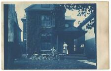 Large Victorian Home & Boy on Bicycle  Cyanotype RPPC Real Photo Postcard c.1910