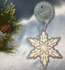 NEW 2006 Martha Stewart Ceramic Christmas Ornament: Snowfall Blue + White. #3283