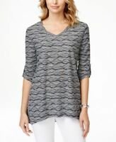 JM Collection Women's Stylish Textured Jacquard Top Intrepid Blue Small Size