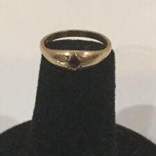 10K Yellow Gold Tiny Baby Ring Red Garnet  0.6 grams Pendant Charm Vintage