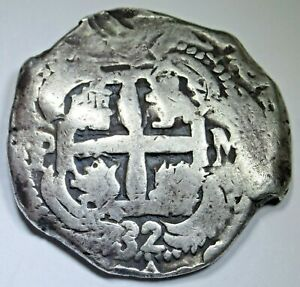 1732 Spanish Bolivia Silver 8 Reales Old 1700's Colonial Dollar Pirate Cob Coin