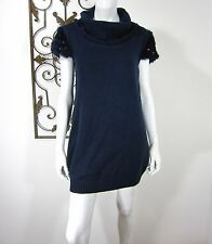 SOPHYLINE PARIS RABBIT HAIR FUR SHORT SLEEVE SWEATER DRESS SIZE M, BLUE