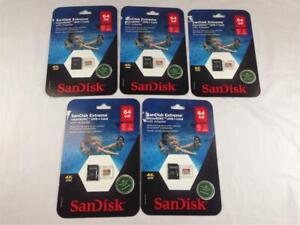 Lot of (5) SanDisk Extreme Micro SDXC UHS-I Card With Adapter 64GB