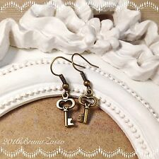 Orecchini Chiavi Chiave Piccola Earrings Bronzo Cute Keys Vintage Hipster Regalo