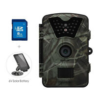 8GB Trail Hunting Camera 12MP Wildlife Hunting Scouting Cam+ Solar Battery Panle