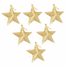 """Pack Of 6 Hanging Ornaments Gold Glitter Stars Christmas Tree Decorations 3.5"""""""