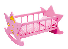 Doll's Wooden Pink Cradle Bed Cot Doll's Furniture Pretend Play Girls Kids 45cm