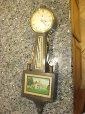 Telechron Banjo wall clock, missing Eagle on top, runs but loses time,Model 2F81
