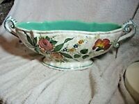VINTAGE WIDE TWO HANDLE FOOTED VASE (HAND PAINTED) MARKED C.T.9530 FOREIGN.