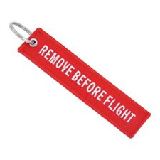 New Remove Before Flight Red Embroider Key Chain Key Tag Ring Plane Car bike bag