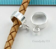 2x BRIGHT STERLING SILVER LEATHER 8mm CORD PENDANT RING SLIDE CONNECTOR #3160