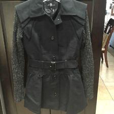 7 For All Mankind Womens Herringbone Dress Jacket Size X-SMALL Black $345
