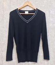 Womens Nike Golf Jumper Size L Ladies Black Wool Fine Knit Ribbed Winter Sweater