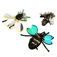 3x Bee Shape Rhinestones Beads Patches Sew on Patch Applique for Decoration