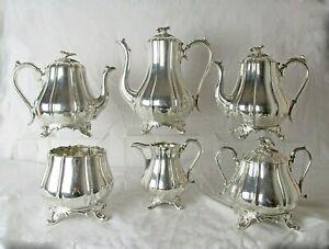 1800'S REED & BARTON 6 PC SP TEA COFFEE HOT WATER SERVICE FLOWER FINIAL