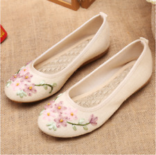 Plus Size Lady Mother Embroidered Floral Flats Shoes Ethnic Slip On Pumps Shoes