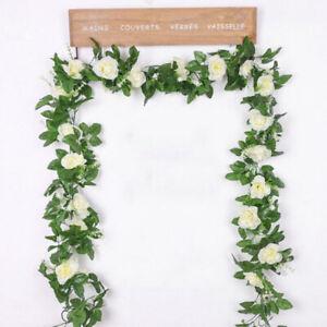 2X weiß Künstliche Blume Seide Rose Garland Vine Ivy Startseite Hochzeit Garten