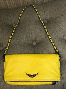 Authentic   ZADIG & VOLTAIRE Passion Yellow Leather Clutch Shoulder Bag
