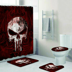 The Punisher Bathroom Rug 4PCS Shower Curtain Set Non-Slip Toilet Seat Cover
