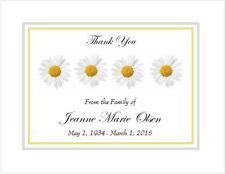 12 Sympathy Personalized Thank You Cards ~ Row of Daisies