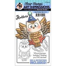 New ART IMPRESSIONS RUBBER STAMP OWL FLUTTER SET FREE USA SHIP BIRTHDAY
