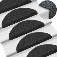 Tapis d'escalier auto-adhésif Poinçon aiguilleté 15 pcs Noir Y1I8