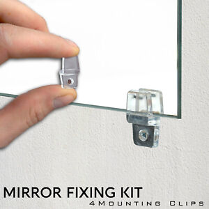 4 Mirror Hanging Fixing Kit Clear Plastic Fixing Clips Mirror Wall Mounting Clip