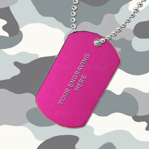 Pink Aluminium - Personalised / Engraved-Army-Military-Dog-ID / Tag & Chain
